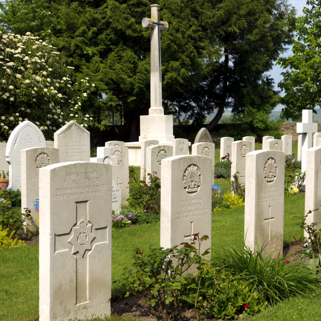 """War Graves at St. Johns church, Sutton Veny, Wiltshire, UK"" stock image"