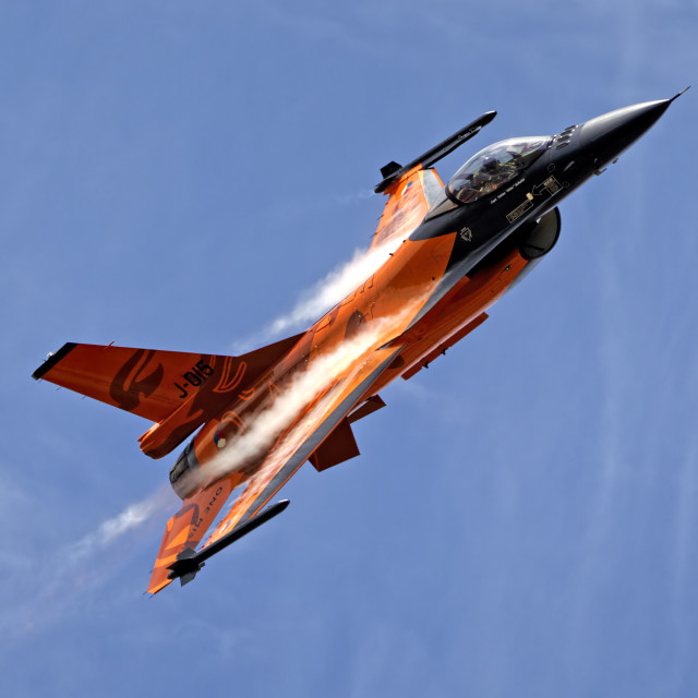 """RNethAF F-16AM J-015 ""Orange Lion"""" stock image"