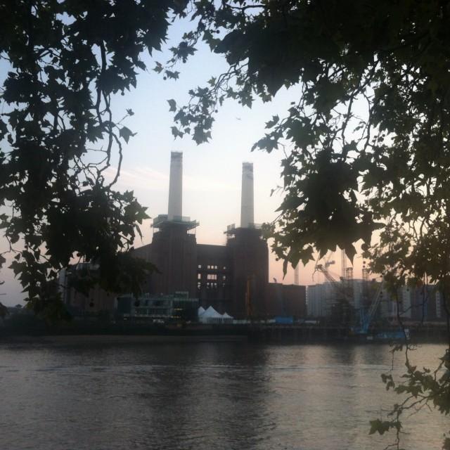 """""""Battersea Power Station September Sundowner"""" stock image"""