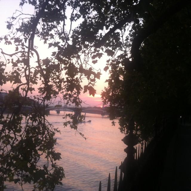 """""""Chelsea Bridge September Sundowner"""" stock image"""