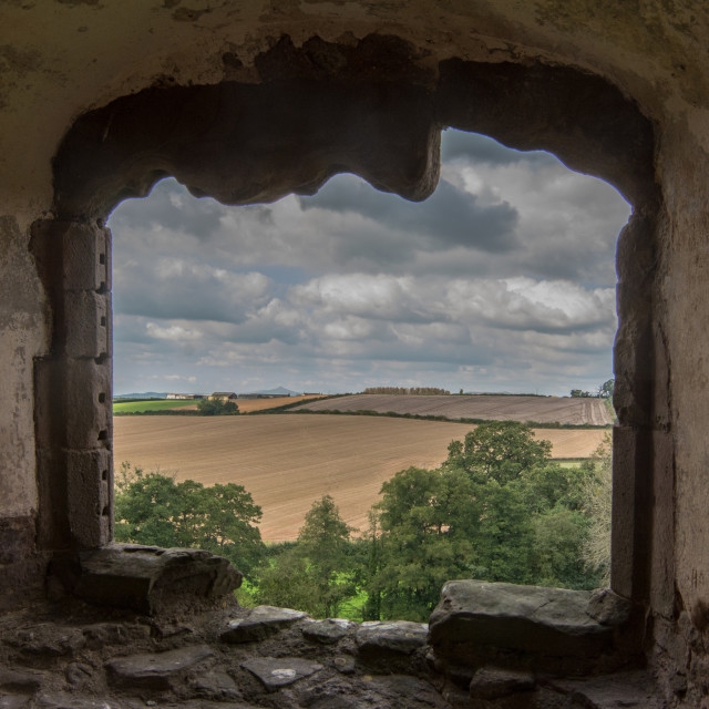 """A view through a castle window"" stock image"