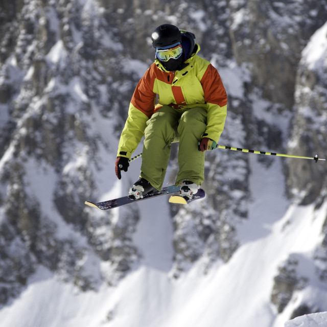 """""""Skier and Mountains"""" stock image"""