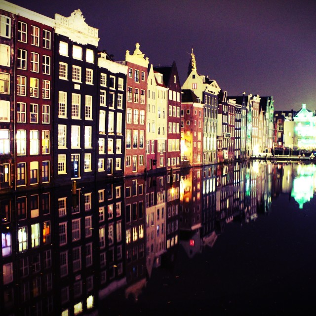 """""""Reflection In The City Of Red Lights"""" stock image"""