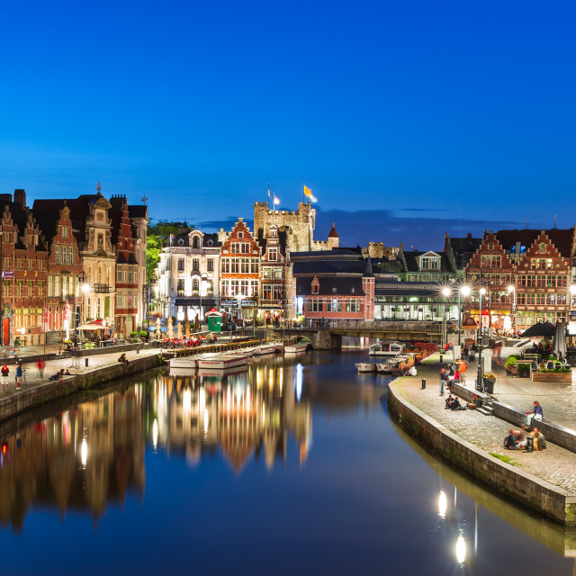 """Graslei in Ghent, twiligh Belgium"" stock image"