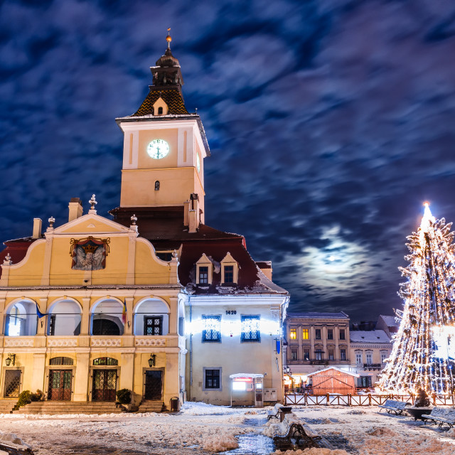 """""""Brasov, Council Square in Christmas night"""" stock image"""
