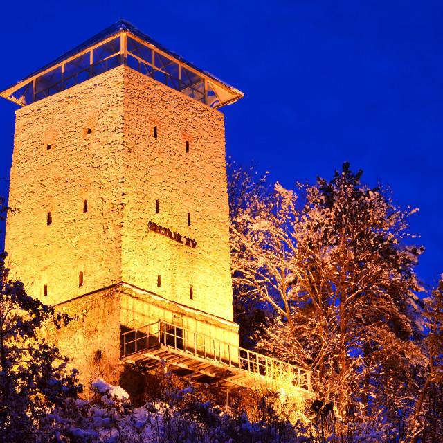 """Brasov fortress, Black Tower (Romania landmark)"" stock image"