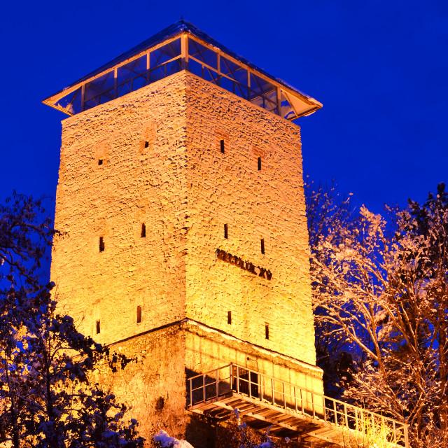 """""""Black Tower in Brasov, Transylvania county in Romania."""" stock image"""