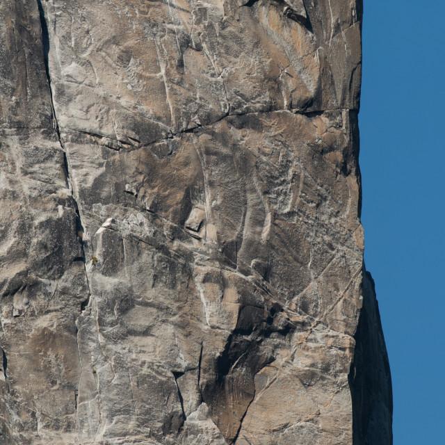 """Climber ascends the Washington Column in Yosemite Valley."" stock image"