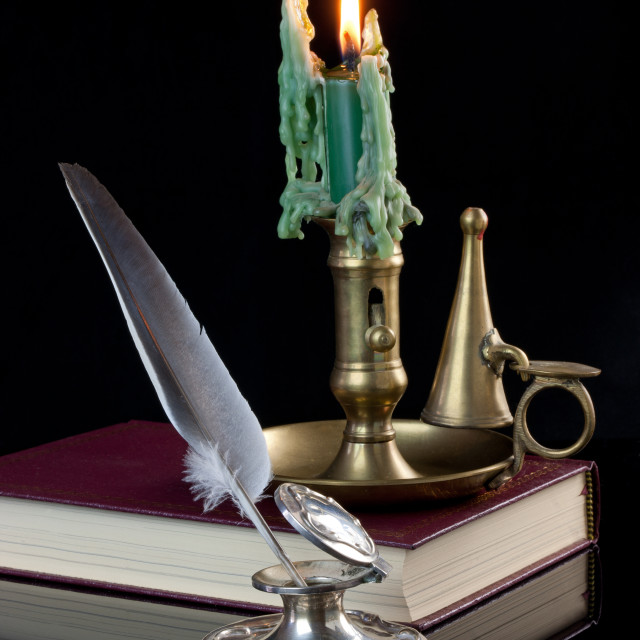 """Quill Pen and Candle"" stock image"