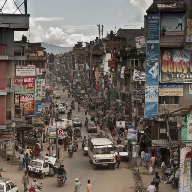 """""""Busy street in Kathmandu, Nepal"""" stock image"""