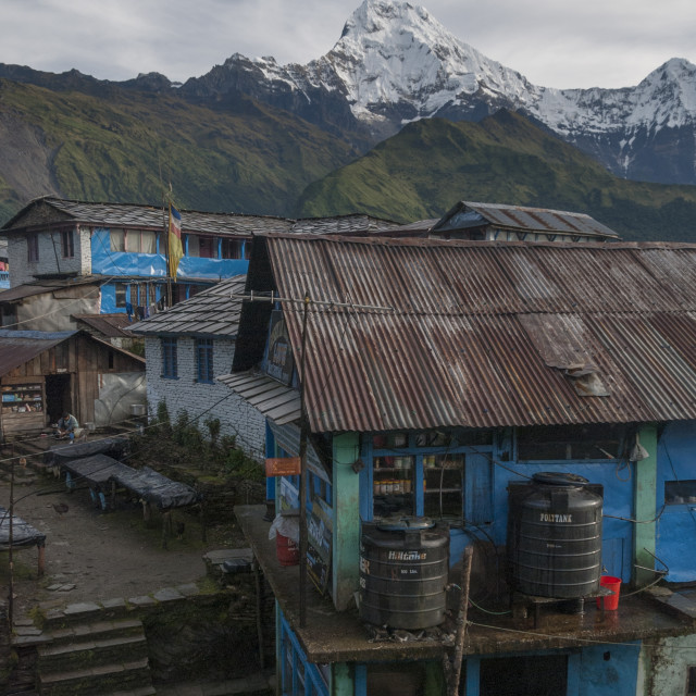 """Macchapuchare standing high above Ghode Pani, Nepal"" stock image"