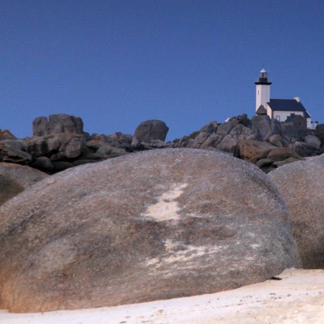 """Lighthouse near Kerlouan, Brittany"" stock image"