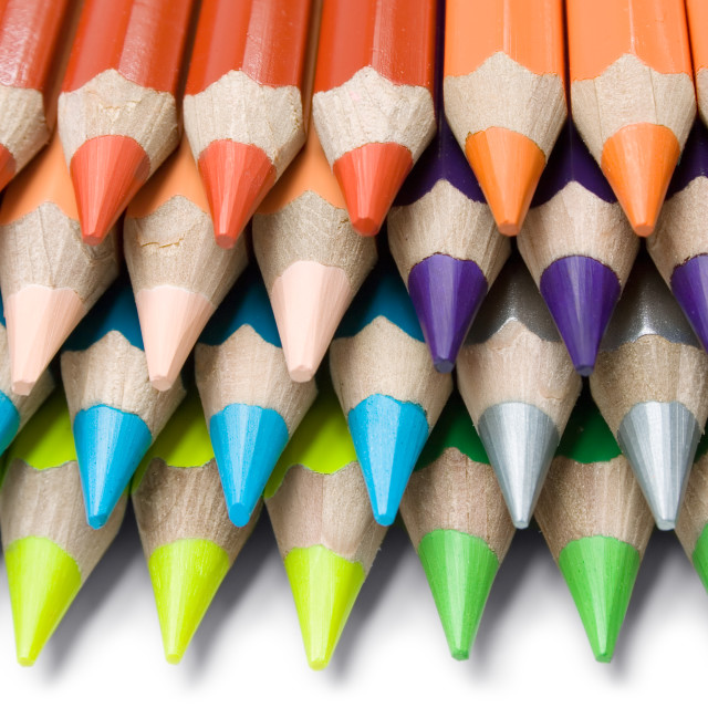 """""""Layered Colored Crayons"""" stock image"""
