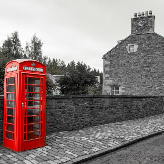 """New Lanark Telephone Box"" stock image"