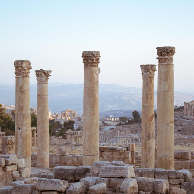 """Pillars at Jerash"" stock image"
