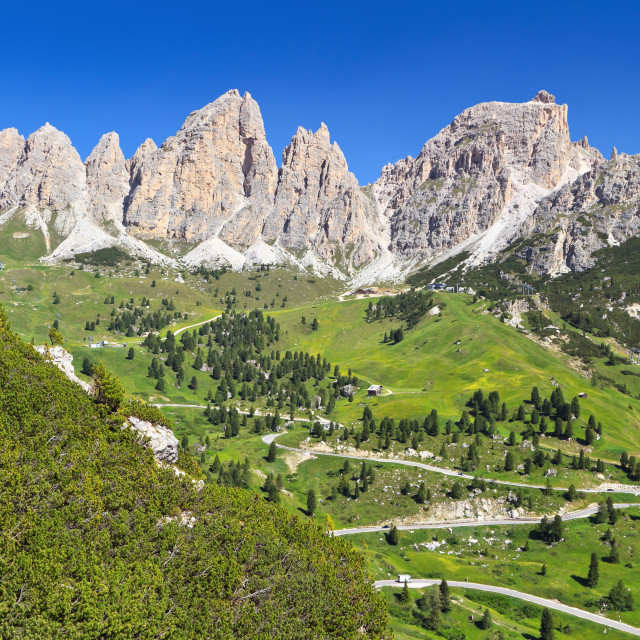 """Val Badia - road to Gardena pass"" stock image"
