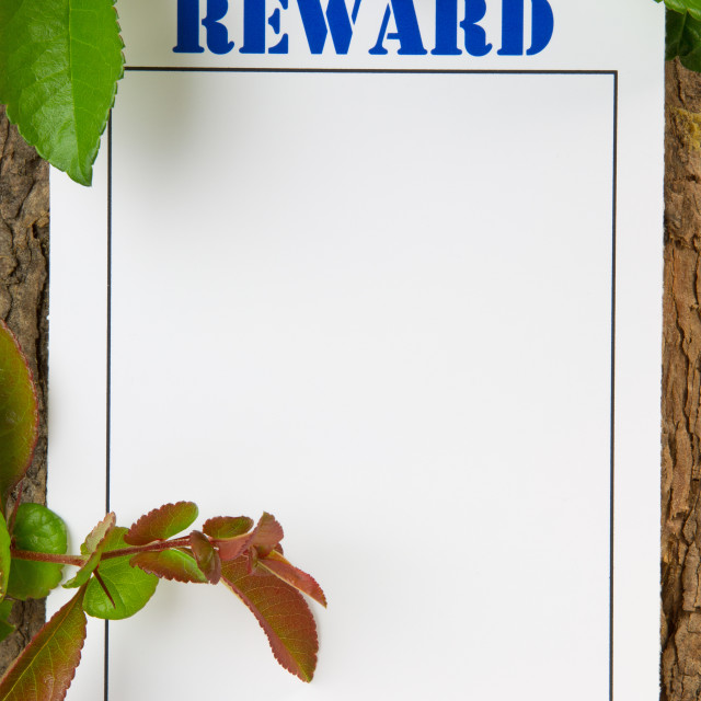 """Reward Notice"" stock image"