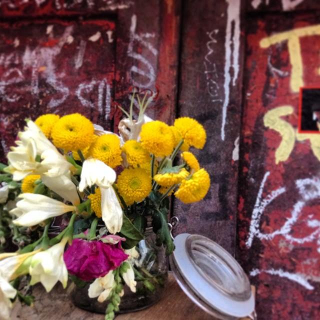 """Flowers and Graffiti"" stock image"