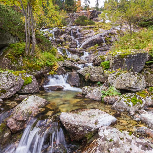 """Waterfall near Morskie oko"" stock image"