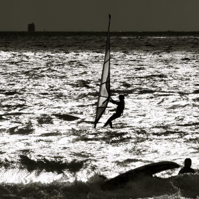 """Wind surfer in sunshine"" stock image"