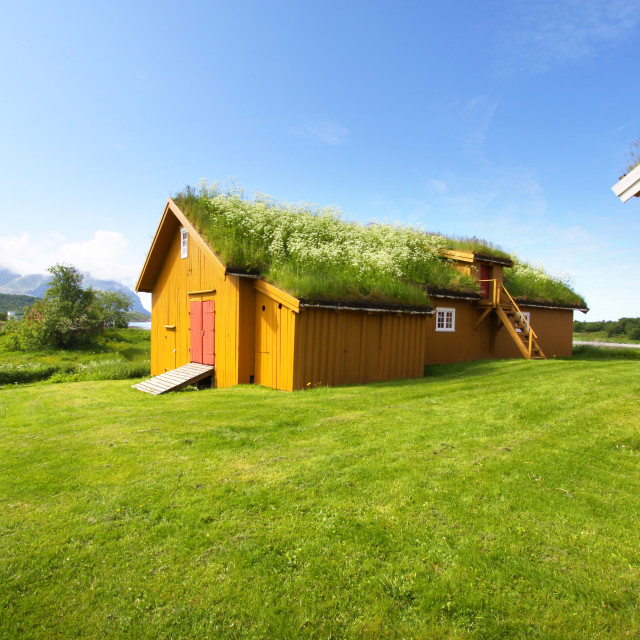 """Peat & Grass Roofed Barn in Bodo, Norway"" stock image"