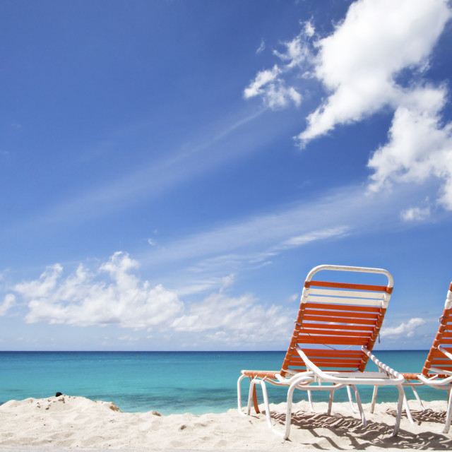 """Deck Chairs on Maho Beach, St Maarten"" stock image"