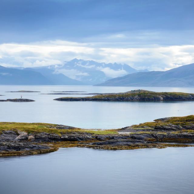 """Sailing through the calm fjords near Bodo"" stock image"