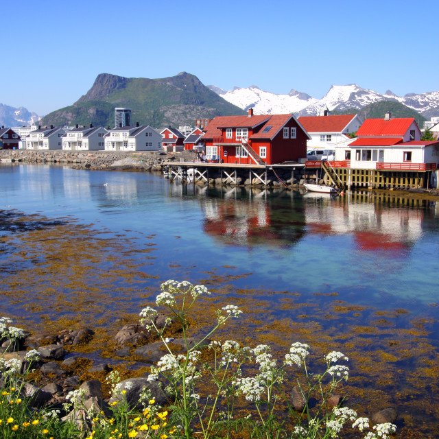 """Spring in the Lofoten Islands, Norway"" stock image"