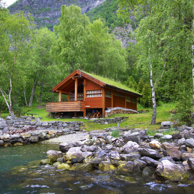 """Log Cabin in Skjolden, Norway"" stock image"