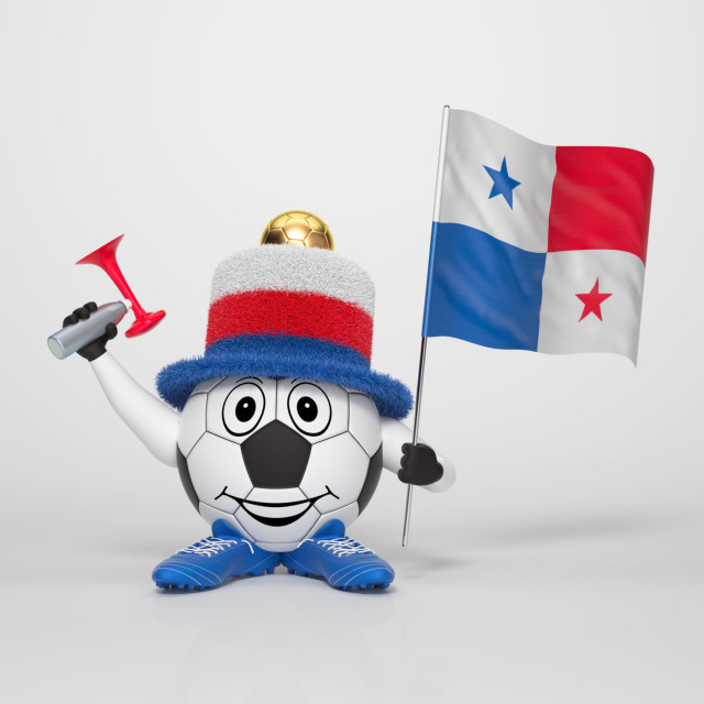 """Soccer character fan supporting Panama"" stock image"
