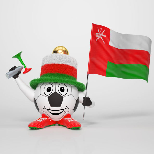 """Soccer character fan supporting Oman"" stock image"