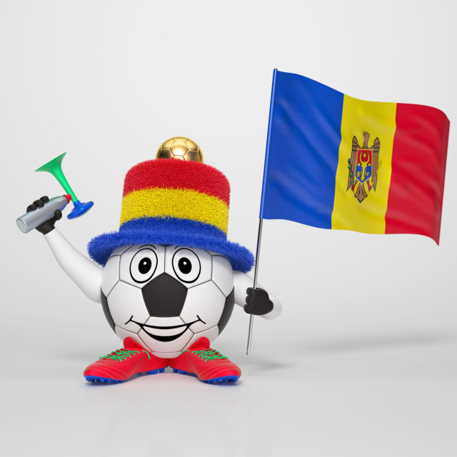 """Soccer character fan supporting Moldova"" stock image"