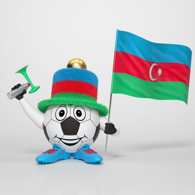 """Soccer character fan supporting Azerbaijan"" stock image"