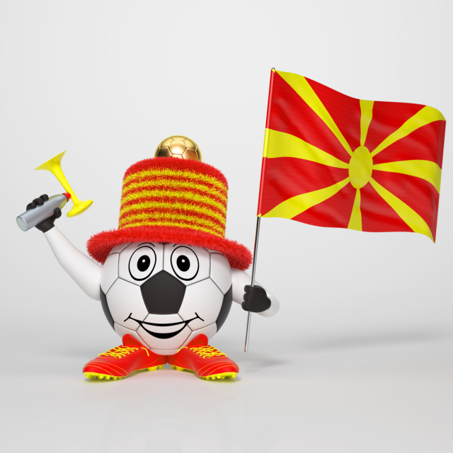 """Soccer character fan supporting Macedonia"" stock image"