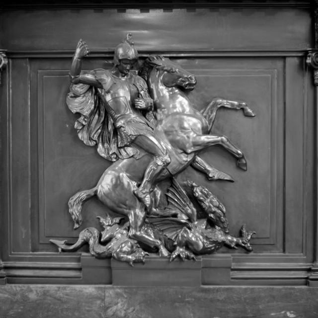 """Saint George slaying the Dragon"" stock image"