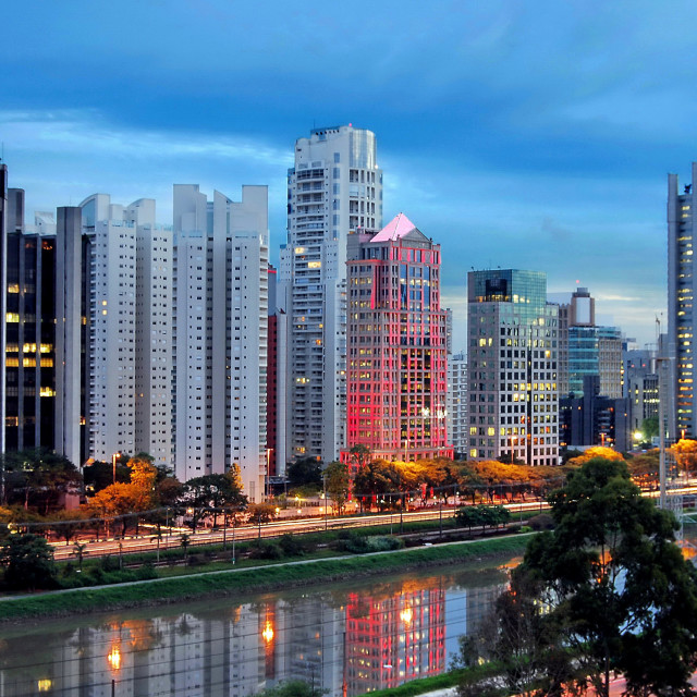 """Sao Paulo Skyline - Brooklin Novo - Berrini Avenue neighborhood - Corporate District"" stock image"