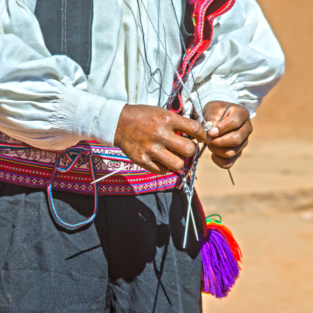 """Knitting man in Peru"" stock image"