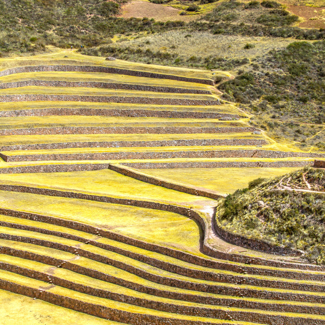 """Peru, Moray, ancient Inca circular terraces."" stock image"