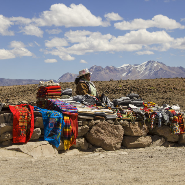 """Selling handicrafts outdoors in Peru"" stock image"
