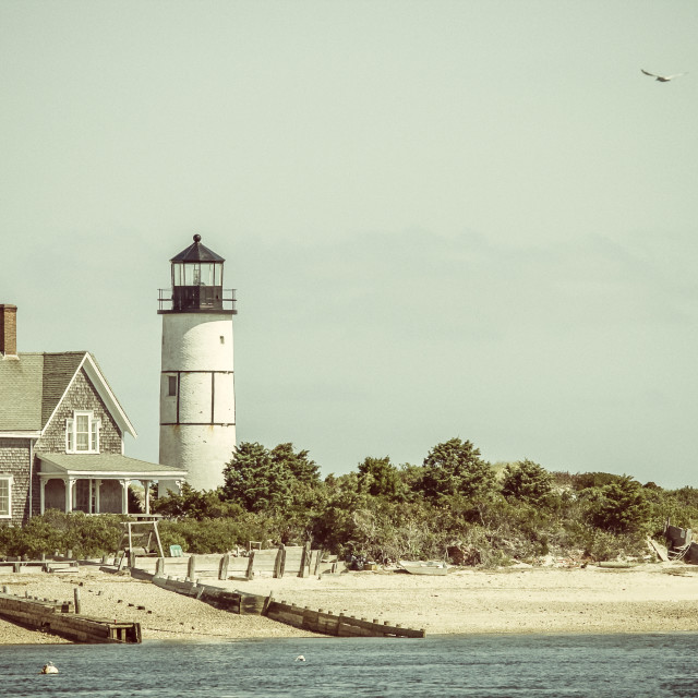 """""""Lighthouse and home at Cape Cod"""" stock image"""
