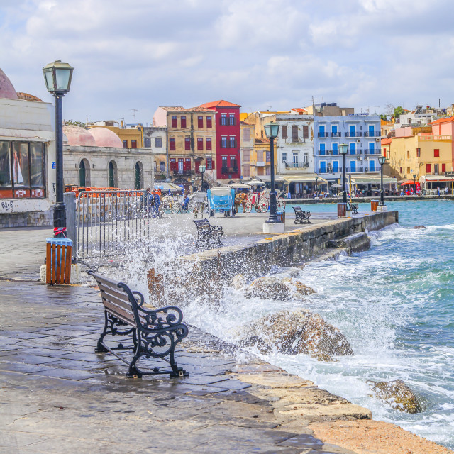 """Greek waterfront in Crete"" stock image"
