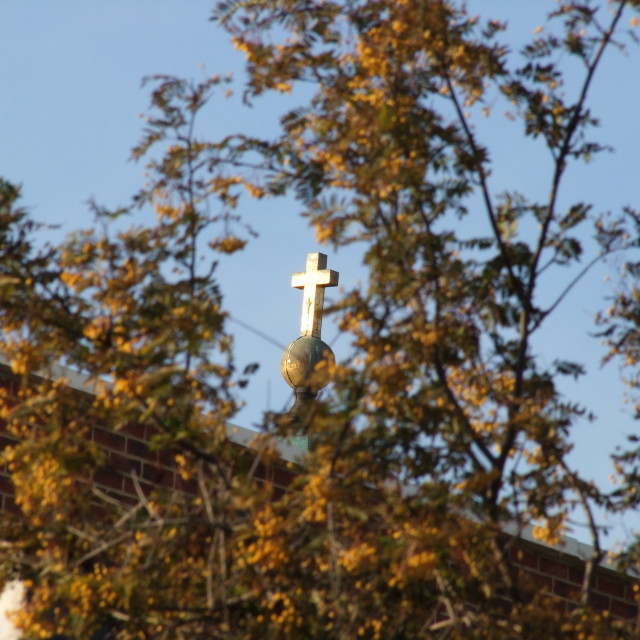 """Sunlit cross"" stock image"