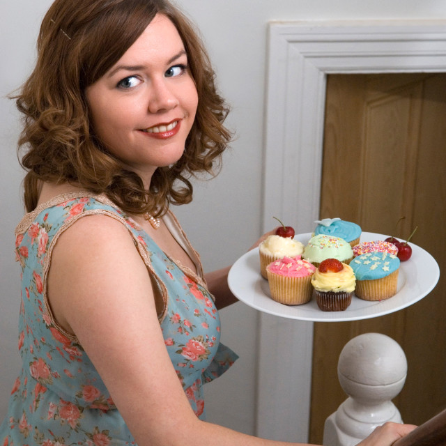 """""""Lady with cupcakes"""" stock image"""