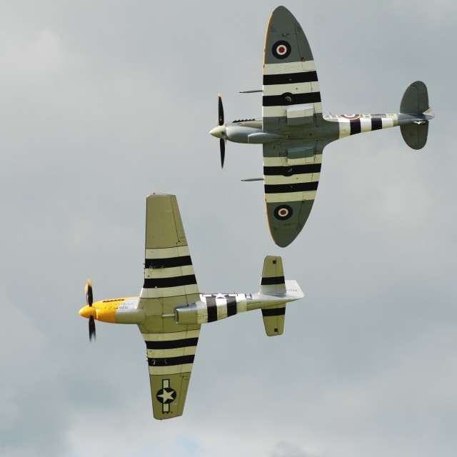 """Mustang and Spitfire fighters"" stock image"