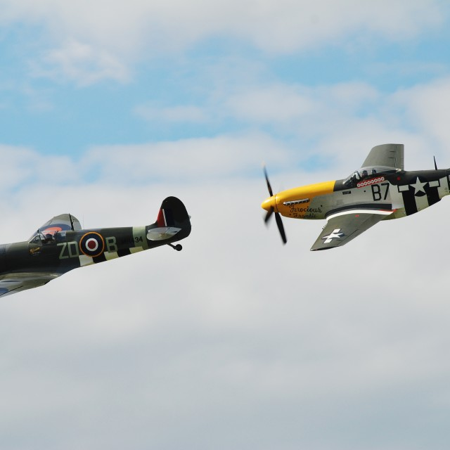 """Mustang and Spitfire formation"" stock image"