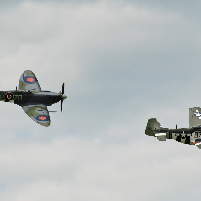 """Spitfire and Mustang fighters"" stock image"
