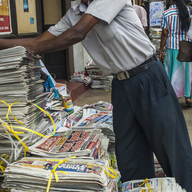 """Newspaper stand in Kandy"" stock image"