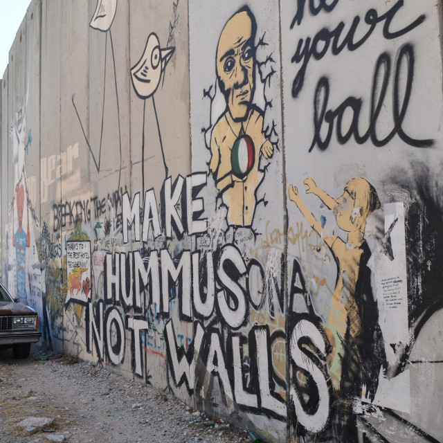 """Make Hummus not walls"" stock image"