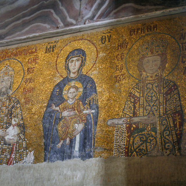 """Very old mosaic of the Virgin Mary and infant Jesus"" stock image"