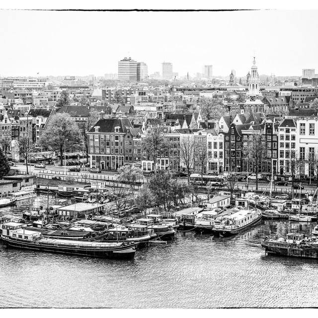 """Black and white view on Amsterdam"" stock image"